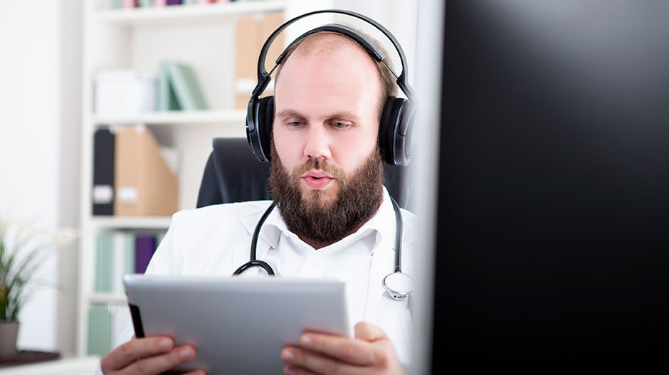 Locum Tenens Physician Listening to Podcast