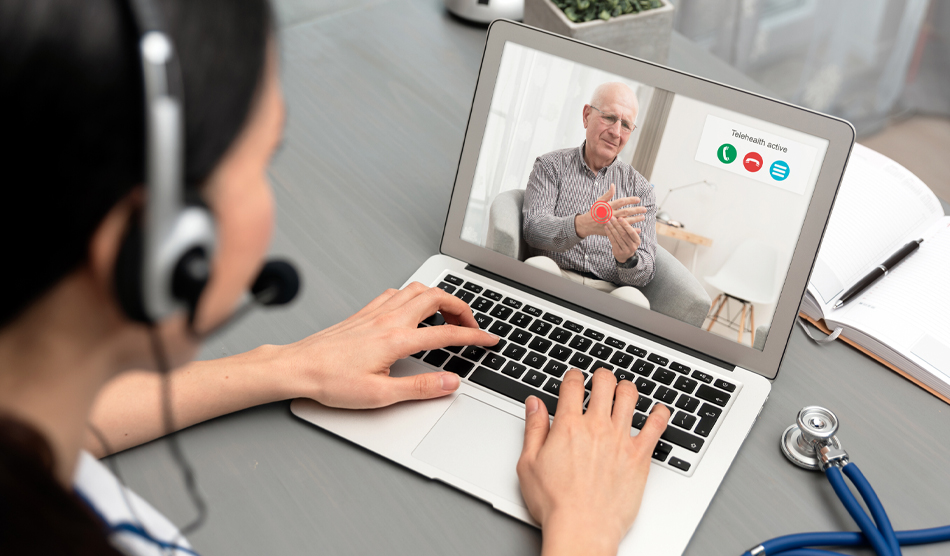 patient expressing numbness in hand during telehealth neurology visit