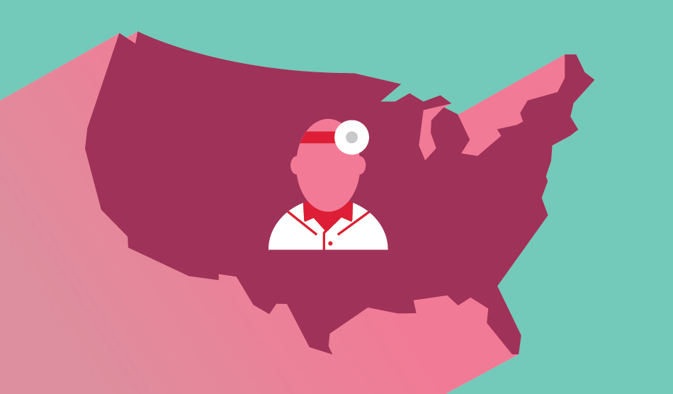 Illustration of U.S. and a physician getting licensed in a new state